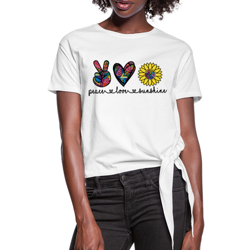 Peace Love Sunshine Women's Knotted T-Shirt - white