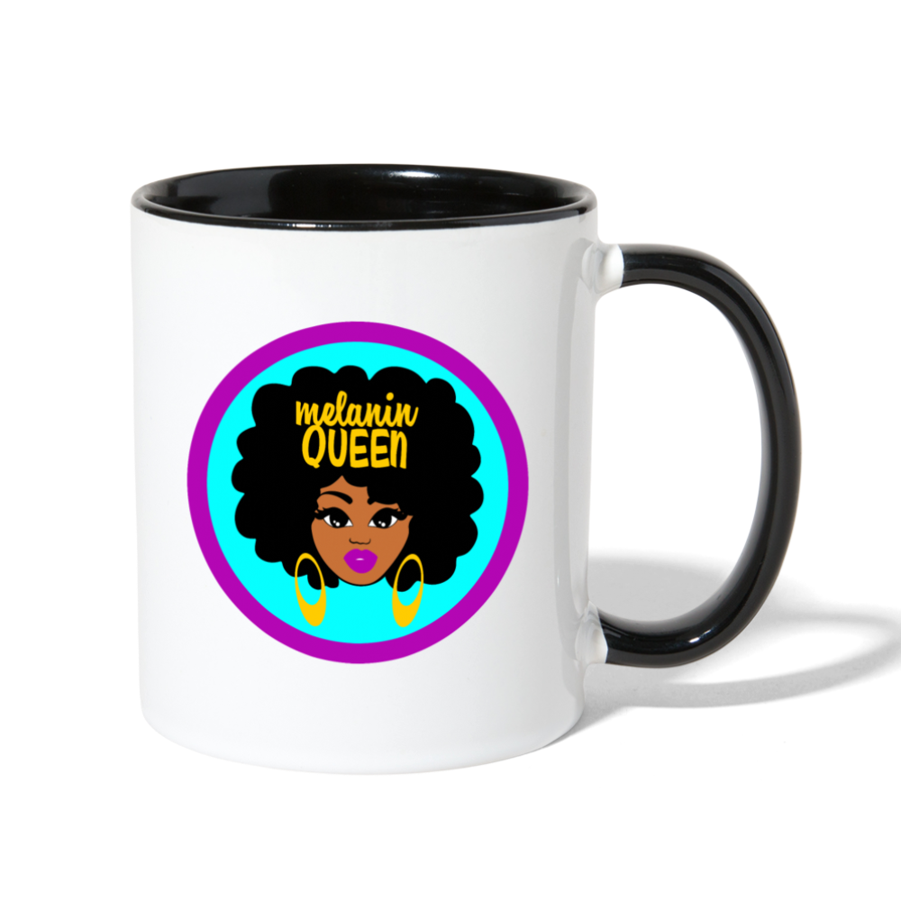 Melanin Queen Contrast Coffee Mug - white/black