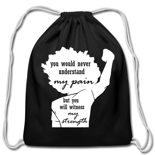 Witness My Strength Cotton Drawstring Bag - black