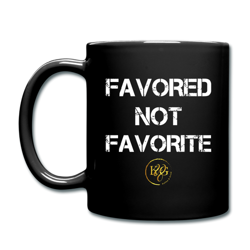 Favored Not Favorite Mug - Black Design Facing Outward - black