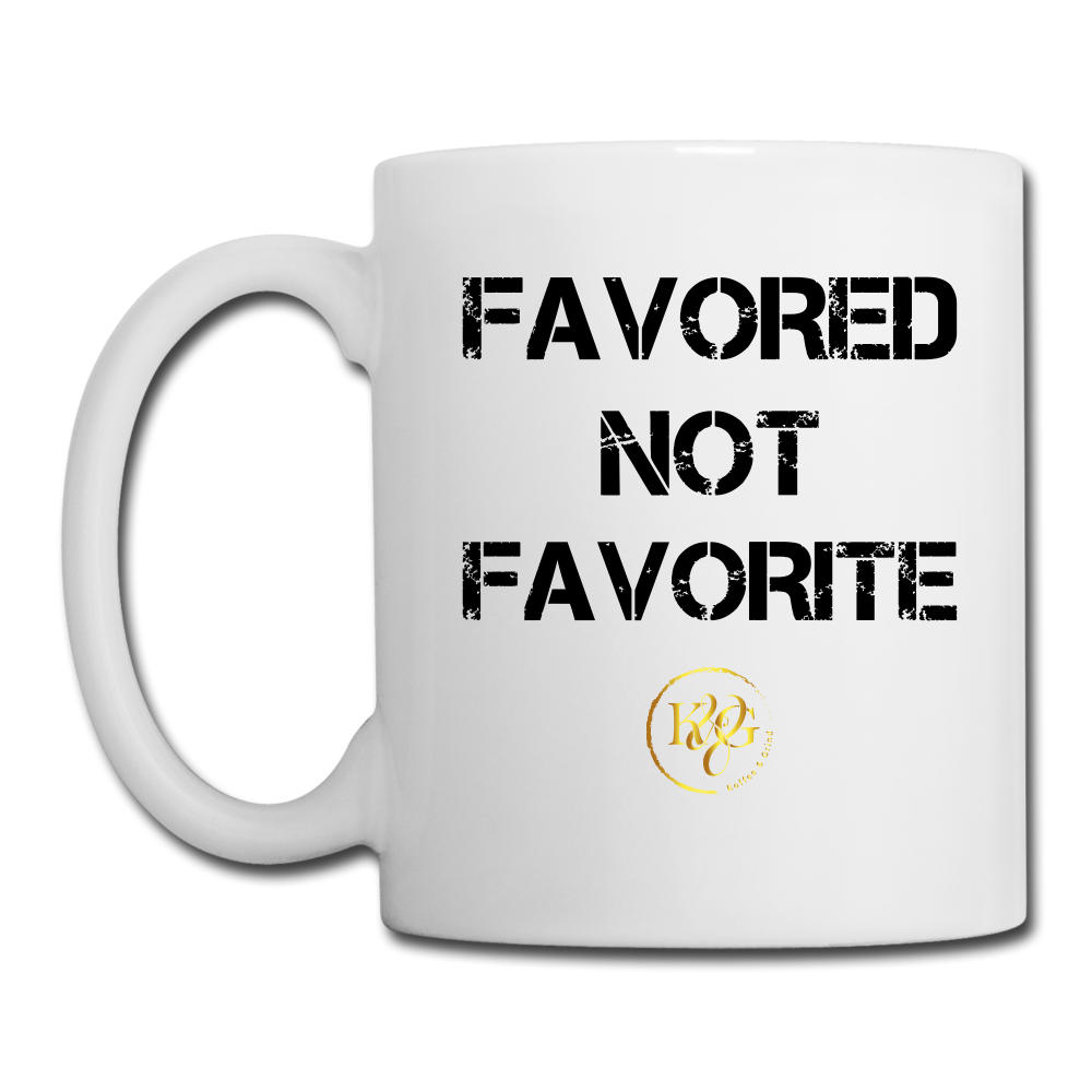 Favored Not Favorite Mug - White Design Facing Outward - white