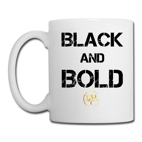 Black & Bold Mug- White Design Facing Outward - white