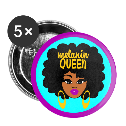 Melanin Queen Buttons large 2.2'' (5-pack) - white
