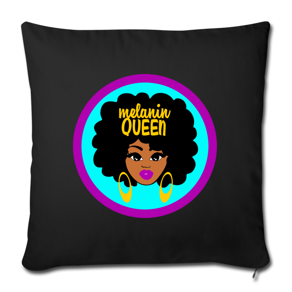 Melanin Queen Throw Pillow Cover - black