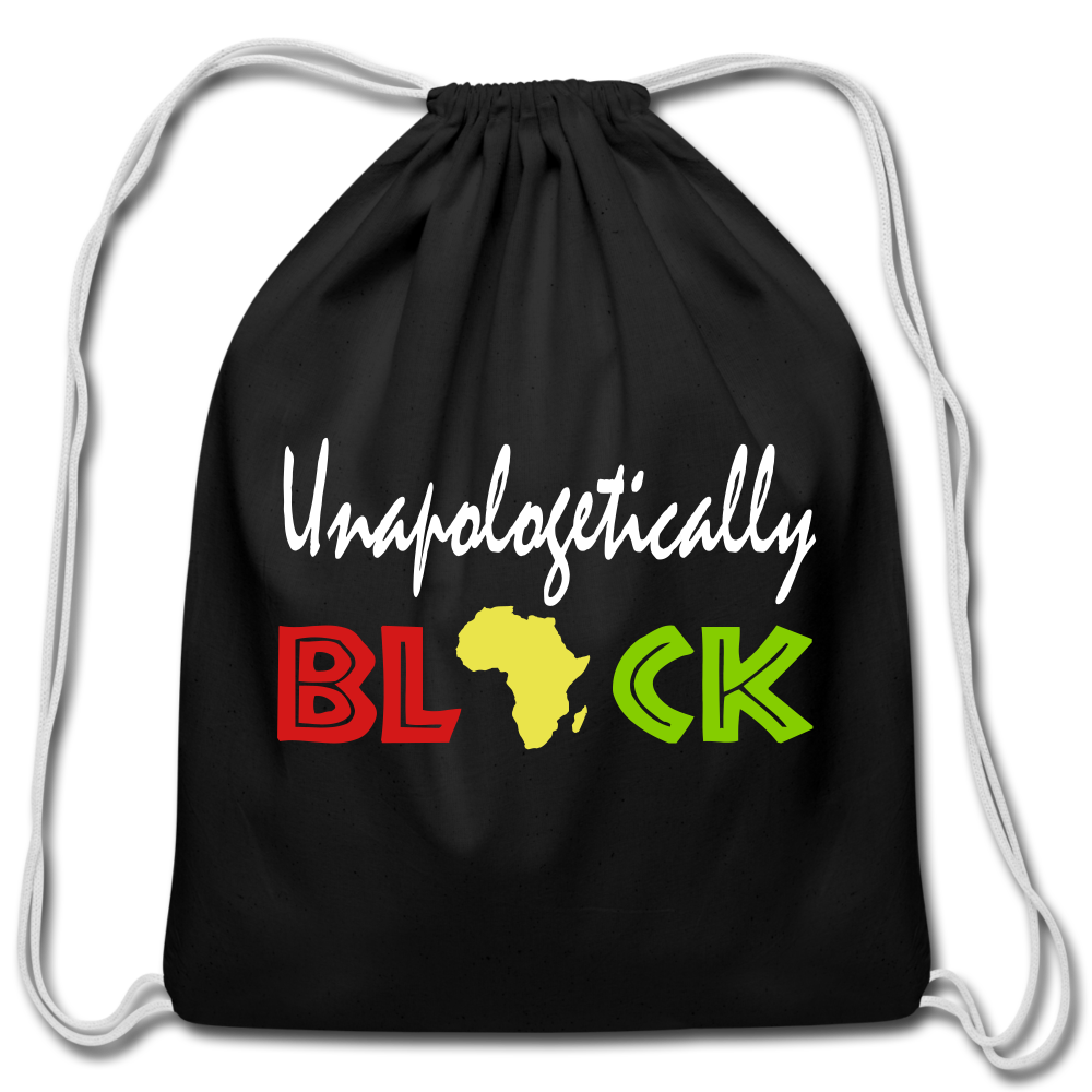 Unapologetically Black Cotton Drawstring Bag - black