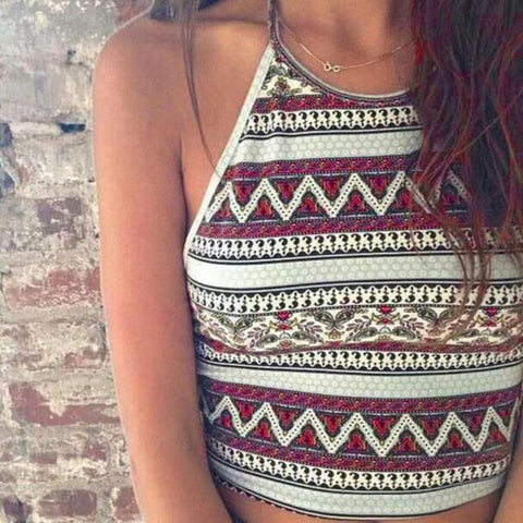 Geometric Pattern Halter Crop Top