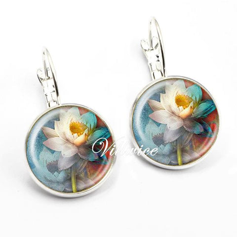 Vintage Glass Lotus Earring - Lil and Cole
