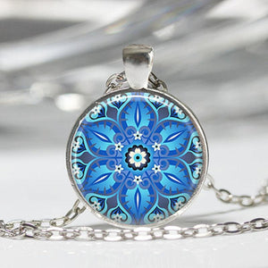 Mandala Flower Pendant Necklace