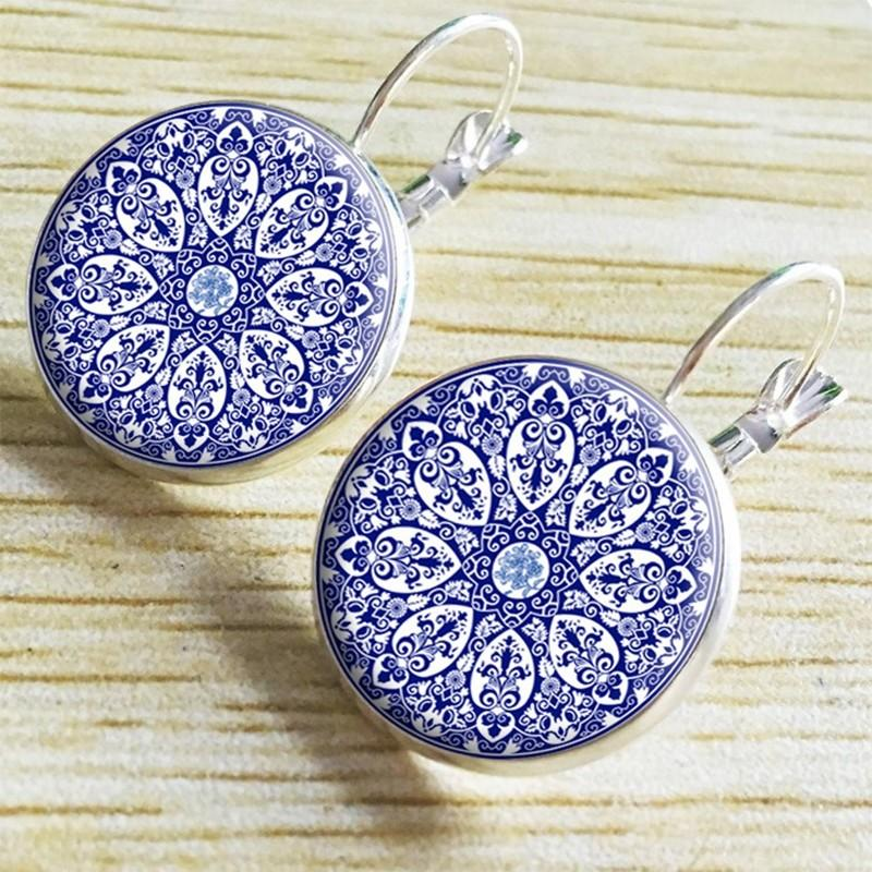 Mandala Flower Glass Earrings