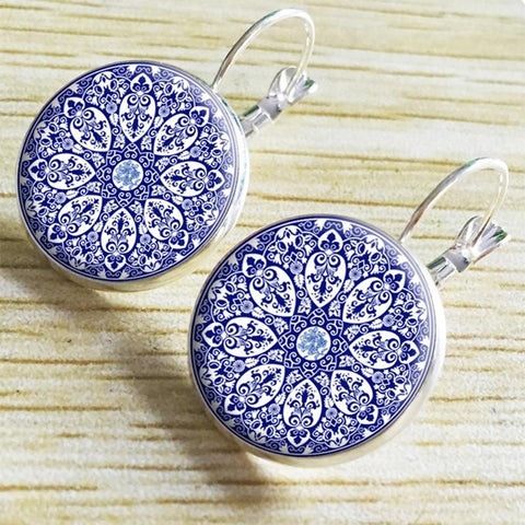 Mandala Flower Glass Earrings - Lil and Cole