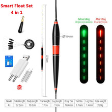 Smart Float + Charger + Space Bean 4in1 Bite Alarm Fish Bait LED Light Automatic Night Electronic Color Change Changing Strike