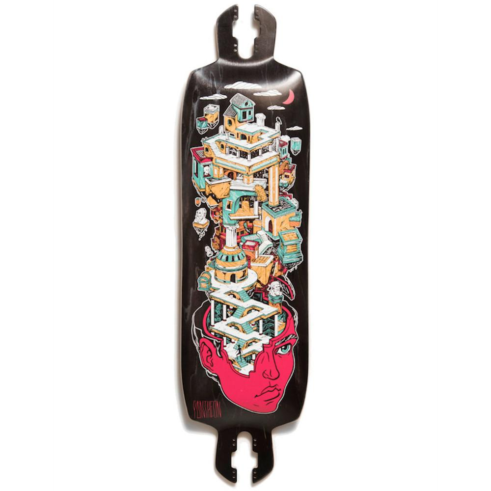 Pantheon Nexus longboard deck is a double drop longboard, which means it is a drop through longboard also featuring a dropped platform