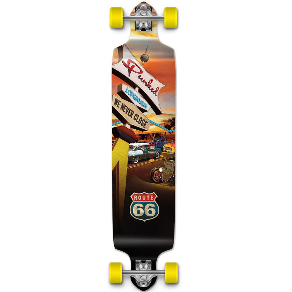 Pumpanickel Shop Yocaher Drop Down Complete Longboard Route 66 Series Diner Graphic