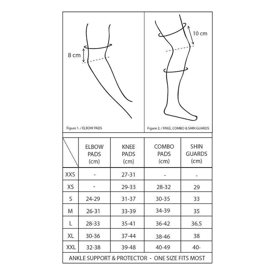 Pumpanickel Sports Shop Gain Size Chart for Knee Pads, Combo Pads, Shin Guards