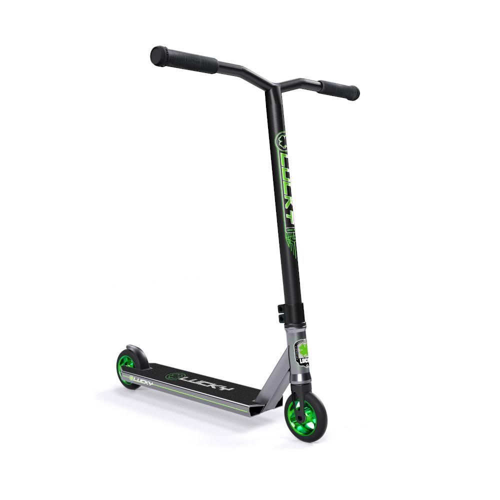 Lucky Crew Freestyle Scooter / Stunt Scooter / Trick Scooter - Platinum Green Silver Black