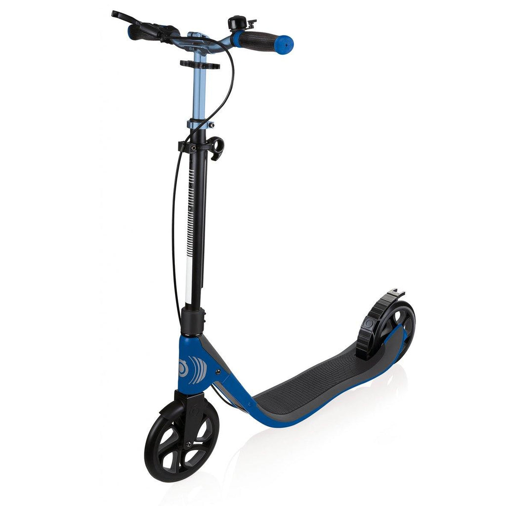 Shop Singapore Pumpanickel Sports Shop Buy Globber One NL205 Deluxe Foldable 2-Wheels Adult Kick Scooter with Hand Brake and Bell- Titanium/Navy Blue