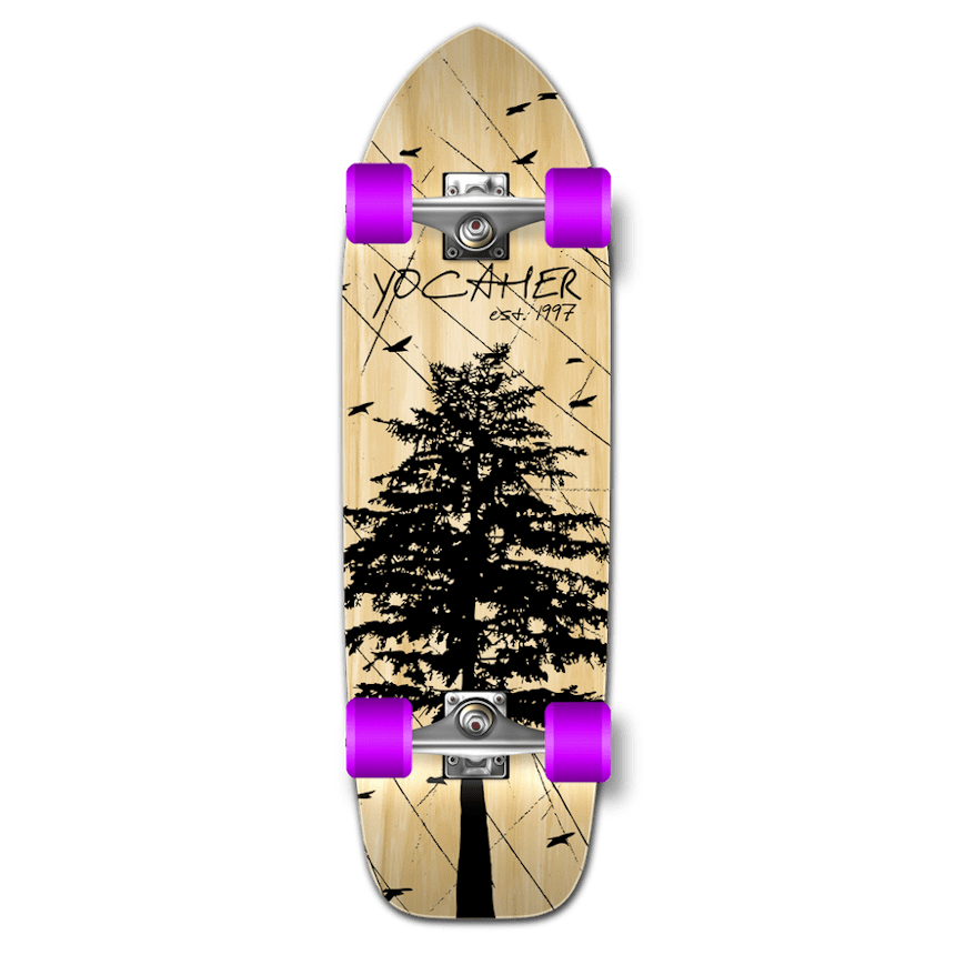 Yocaher Old School Complete Longboard - In the Pines Natural