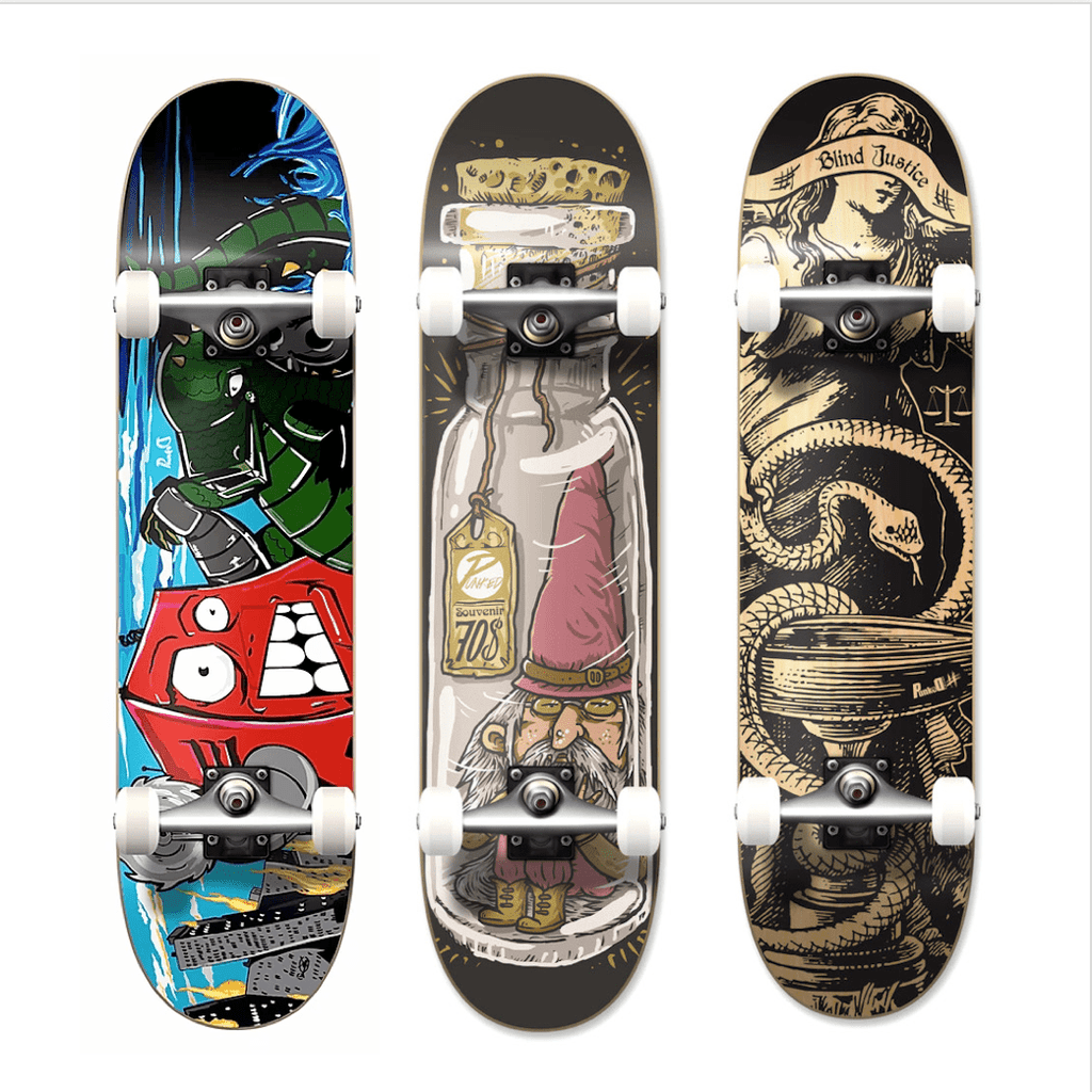 "Pumpanickel Sports Shop Yocaher Skateboard 8"" complete skateboard Dynamic Series Gnome, Robot & Blind Justice"