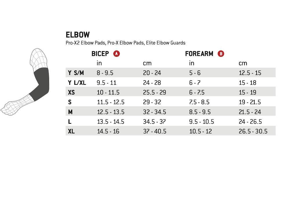 Pumpanickel Sports Shop G-Form Pro-X2 Elbow Pads Size Chart