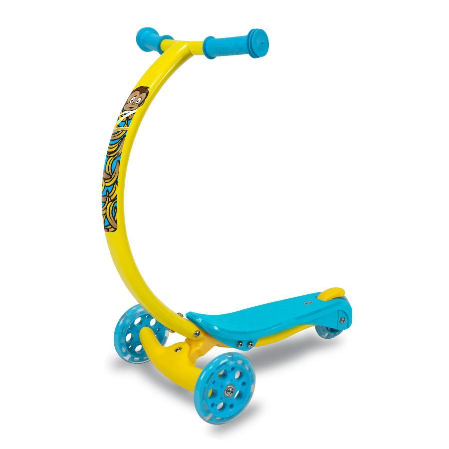 Pumpanickel Sports Shop Zycom Zipster 3 wheel kick scooter for kids boys and girls age 3 to 5 years. Yellow monkey design kids scooter with light up wheels