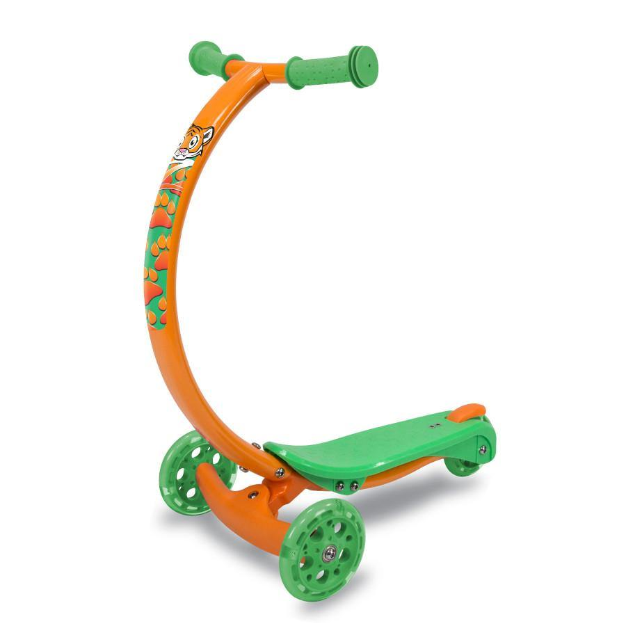 Pumpanickel Sports Shop Zycom Zipster 3 wheel kick scooter for kids boys and girls age 3 to 5 years. Orange tiger design kids scooter with light up wheels
