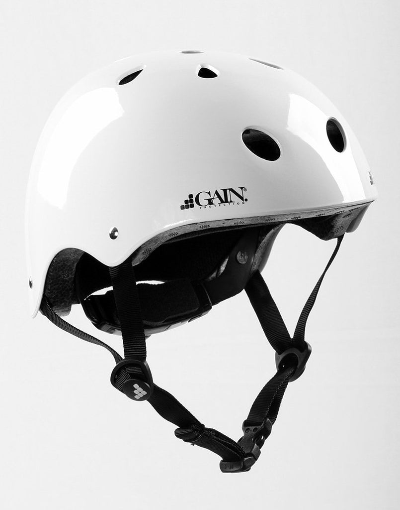 Gain Protection Sleeper Helmet - certified action sports helmets with size adjustable knob Glossy White