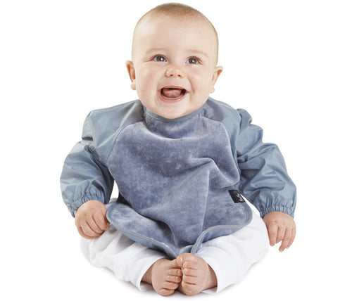 Mum 2 Mum sleeved bib, great for saving mess when starting solids or playing messy games