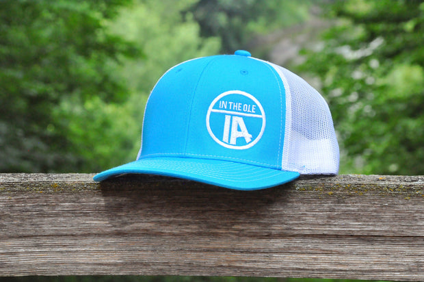 """In the Ole IA"" Cyan & White Mesh Snapback"
