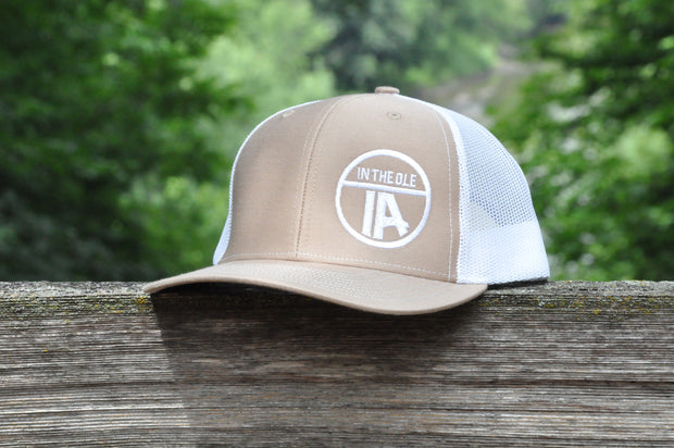 """In the Ole IA"" Khaki & White Snapback"