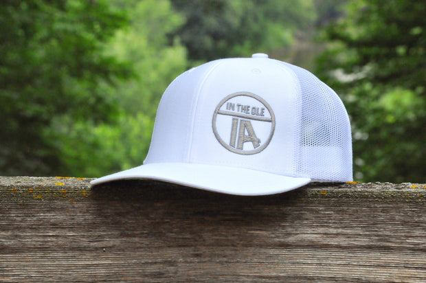 """In the Ole IA"" White on White Snapback"
