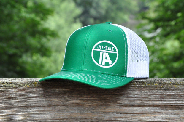 """In the Ole IA"" Green & White Mesh Snapback"