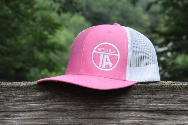 """In the Ole IA"" Hot Pink & White Mesh Snapback"