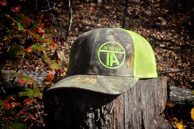 """In the Ole IA"" RealTree Camo & Neon Yellow Snapback"