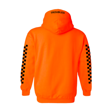 TROUBLED PULLOVER HOODED SWEATER - ORANGE - skuzgang