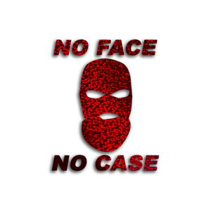 """NO FACE, NO CASE"" / Red glitter vinyl die-cut - skuzgang"