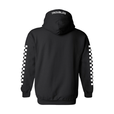 TROUBLED PULLOVER HOODED SWEATER - BLACK - skuzgang