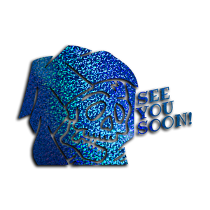 """SEE YOU SOON!"" REAPER / Blue glitter vinyl die-cut - skuzgang"