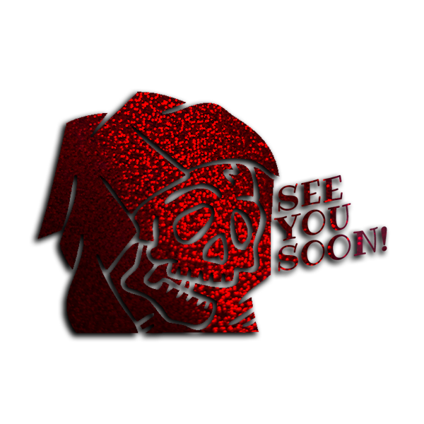 """SEE YOU SOON!"" REAPER / Red glitter vinyl die-cut - skuzgang"
