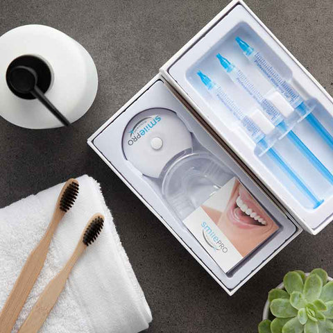 Affordable home teeth whitening kits and natural toothpaste by SmilePro.