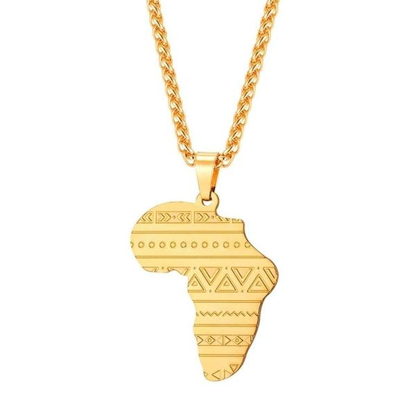 African Map With Bogolan Necklace - Timbuktu Arts