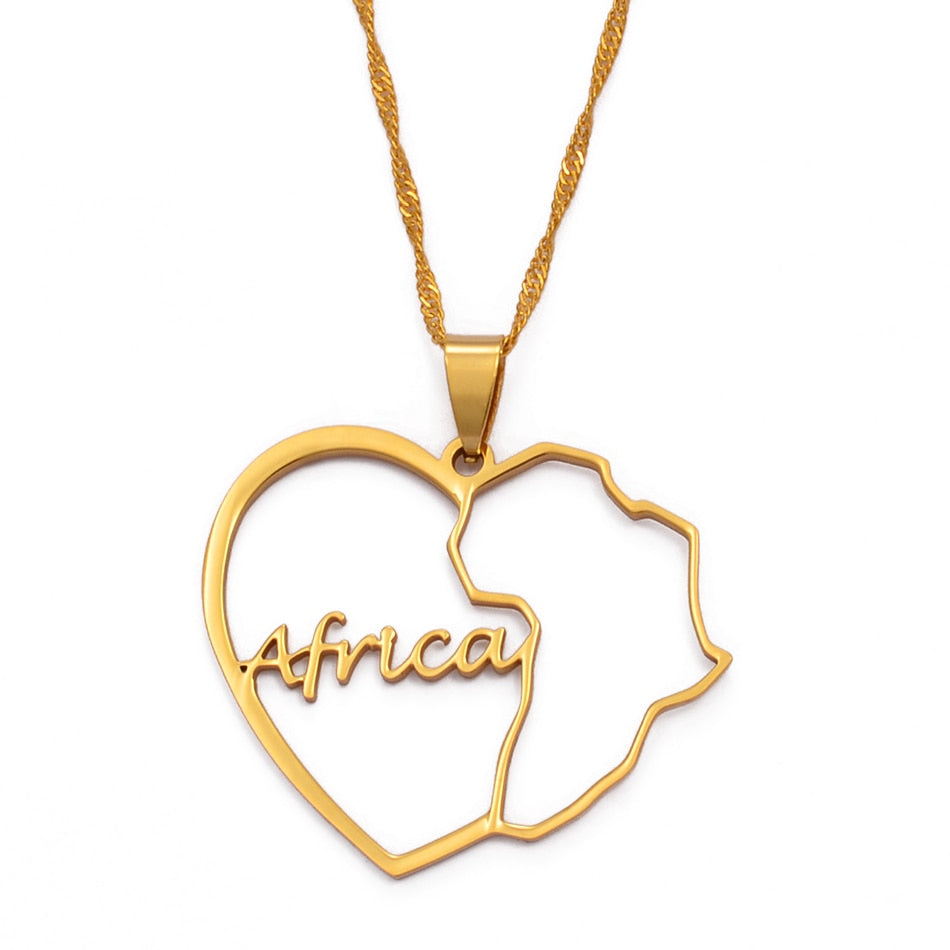 African Map & Heart Necklace
