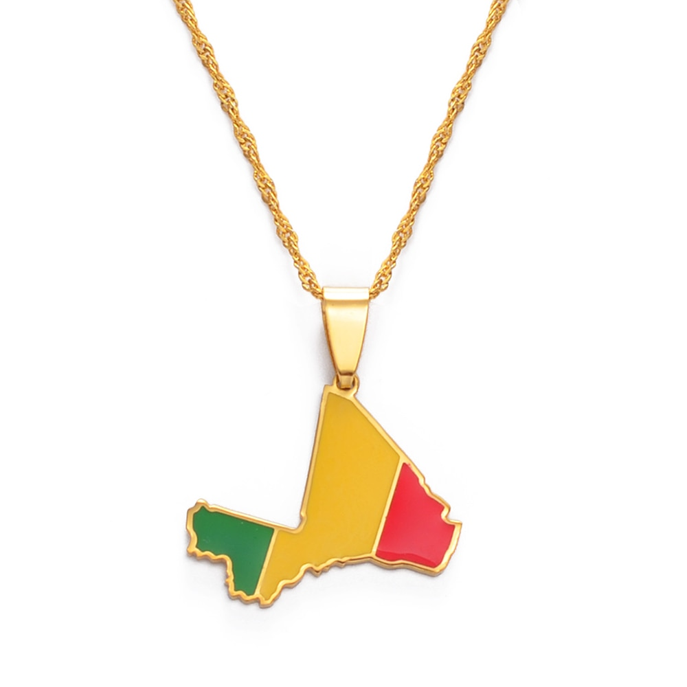 Mali Map & Flag Necklace
