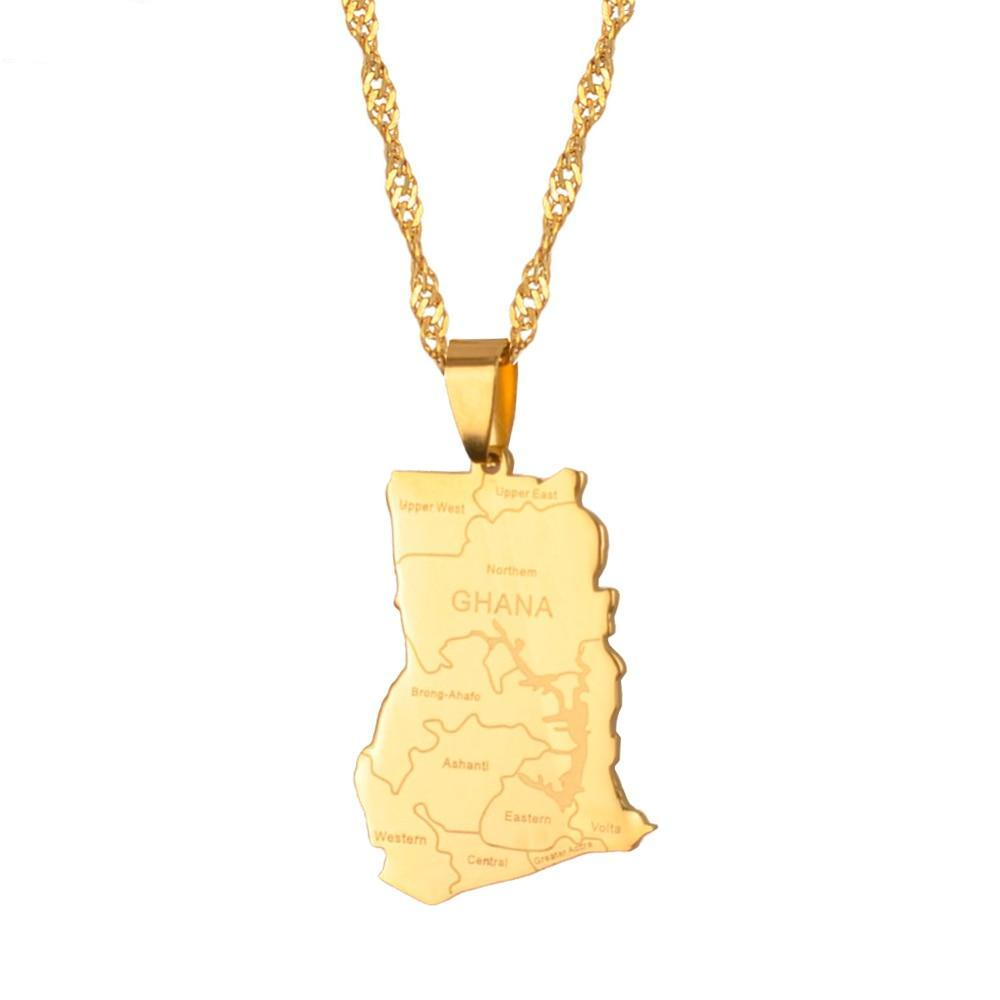 Ghanaian Map Pendant and Chain - Timbuktu Arts