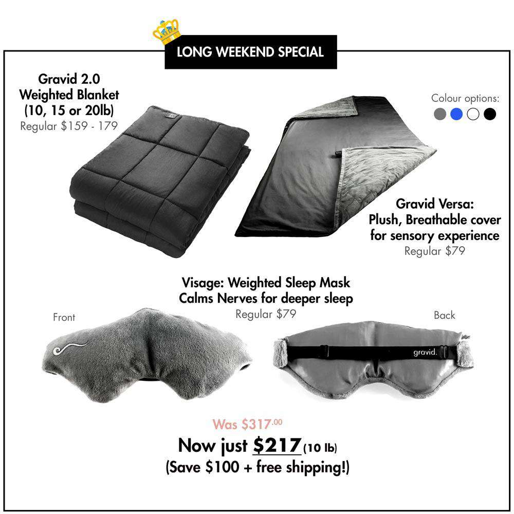 Victoria Day Bundle: Premium Weighted Blanket + Versa Cover + Visage Sleep Mask