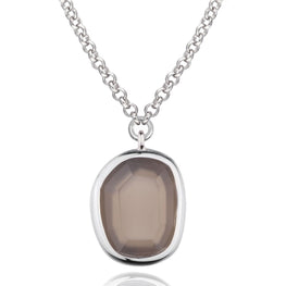 "SUGAR MELON - Sterling Silver Grey Agate 20"" Necklace"