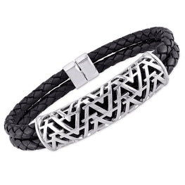 Edges - Silver Openwork Leather Bracelet
