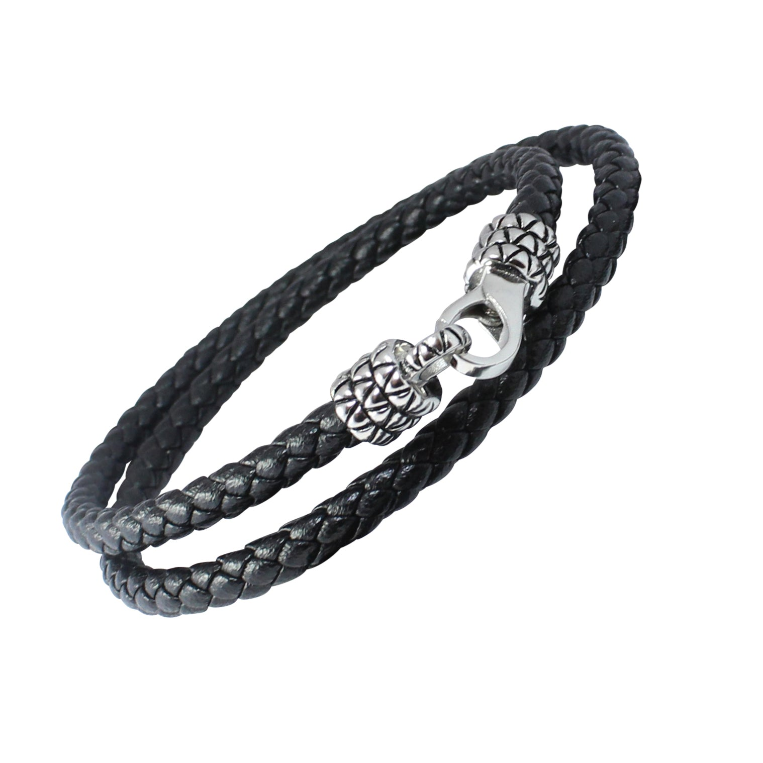 DRAGON SKIN - Braided Black Wrap Bracelet in Leather with Stainless Steel. 17