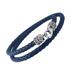 DRAGON SKIN - Braided Blue Wrap Bracelet in Leather with Stainless Steel 17""
