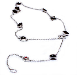 "SMOULDER - Faceted Sterling Silver Smoky Quartz 24"" Necklace"