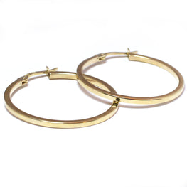 GOOD THINGS - 14K Yellow Gold 28mm Square Railed Hoop Earrings